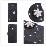 For Xiaomi Redmi Note 7 Pressed Printing Sticking Drill Pattern Horizontal Flip PU Leather Case with Holder & Card Slots & Wallet & & Lanyard(Black)