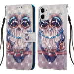 For  iPhone 11 Pro 3D Visual Painting Horizontal Flip Leather Cas with Holder & Card Slot & Wallet & Lanyard(Owl)