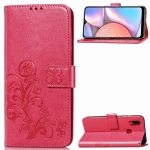 For Samsung Galaxy A10S Four-leaf Clasp Embossed Buckle Mobile Phone Protection Leather Case with Lanyard & Card Slot & Wallet & Bracket Function(Magenta)