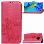 For Huawei Mate 30 Pro Four-leaf Clasp Embossed Buckle Mobile Phone Protection Leather Case with Lanyard & Card Slot & Wallet & Bracket Function(Magenta)