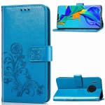 For Huawei Mate 30 Pro Four-leaf Clasp Embossed Buckle Mobile Phone Protection Leather Case with Lanyard & Card Slot & Wallet & Bracket Function(Blue)