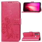 For Xiaomi Redmi Note 8  Four-leaf Clasp Embossed Buckle Mobile Phone Protection Leather Case with Lanyard & Card Slot & Wallet & Bracket Function(Magenta)