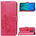 For Xiaomi Redmi Note 8 Pro Four-leaf Clasp Embossed Buckle Mobile Phone Protection Leather Case with Lanyard & Card Slot & Wallet & Bracket Function(Magenta)