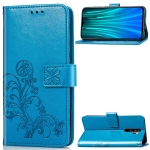 For Xiaomi Redmi Note 8 Pro Four-leaf Clasp Embossed Buckle Mobile Phone Protection Leather Case with Lanyard & Card Slot & Wallet & Bracket Function(Blue)