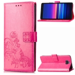 For Sony Xperiea 20 Four-leaf Clasp Embossed Buckle Mobile Phone Protection Leather Case with Lanyard & Card Slot & Wallet & Bracket Function(Magenta)