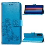 For Sony Xperia 5 Four-leaf Clasp Embossed Buckle Mobile Phone Protection Leather Case with Lanyard & Card Slot & Wallet & Bracket Function(Blue)
