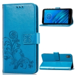 For Moto E6  Four-leaf Clasp Embossed Buckle Mobile Phone Protection Leather Case with Lanyard & Card Slot & Wallet & Bracket Function(Blue)