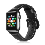For Apple Watch 3 / 2 / 1 Generation  38mm Universal Tree Leather Watchband(Black)