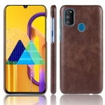 For Galaxy M30s Shockproof Litchi Texture PC + PU Case(Brown)