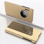 For Huawei Mate 30 Plating Mirror Left and Right Flip Cover with Bracket Holster(Gold)