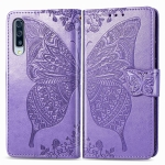 For Galaxy A90(5G) Butterfly Love Flowers Embossing Horizontal Flip Leather Case , with Holder & Card Slots & Wallet & Lanyard(Light Purple)