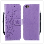 For  iPhone 8 Plus / 7 Plus Plum blossom Pattern Leather Case with Holder & Card Slots(Plum Purple)