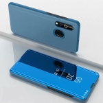 For Galaxy A10s Plated Mirror Left and Right Flip Cover with Stand Mobile Phone Holster(Blue)