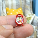 Dollhouse Bedroom Living Room Accessories Mini Alarm Clock, Random Dial Style Delivery(Red)