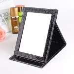 2 PCS Square Stand Leather Make Up Mirror Alligator Pattern Portable Cosmetic Mirror, Color:Black, Size:L 18×25.5×1.6CM