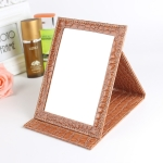 2 PCS Square Stand Leather Make Up Mirror Alligator Pattern Portable Cosmetic Mirror, Color:Brown, Size:M15x20.5×1.6CM