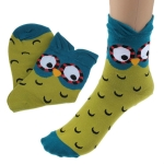Creative Cartoon Owl Cotton Tube Socks, Size:One Size(Green)