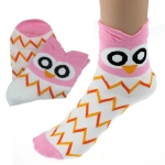 Creative Cartoon Owl Cotton Tube Socks, Size:One Size(Pink)