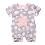 Summer  baby rompers Short sleeve Printed Jumpsuit, Kid Size:80cm(Cloud and Star)