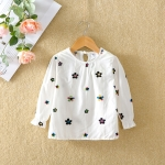 Autumn Girls Embroidered Pattern Cotton Long Trumpet Sleeve T-Shirt, Height:100cm(White Flowe)