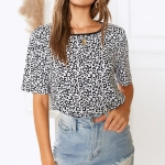Casual Print Short-sleeved Round Neck T-shirt, Size: XL(As Show)