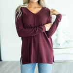 Casual Loose V-neck Solid Color Long-sleeved T-shirt, Size: M( Wine Red )