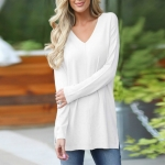 Casual Loose V-neck Solid Color Long-sleeved T-shirt, Size: XL(White )
