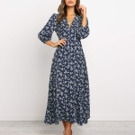 Long-sleeved Printed V-neck Single-breasted High Waist Chiffon Dress, Size: S(Navy Blue )