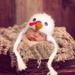 Cartoon Chick Shape Cotton Children Photography Hand-knitted Wool Cap with Braid(White )
