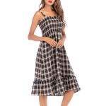 Summer Women's Casual Plaid High Waist Ruffled Skirt Dress, Size:L(As Show)