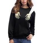 Arm Printed Round Neck Long Sleeve Loose Sweatshirt, Size:S(Black )