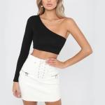 One Shoulder Cotton Lumbar Sport Short T-Shirt, Size: L(Black)