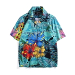Summer Tropical Plant Print Vacation Short Sleeve Shirt, Size: M(As Show)