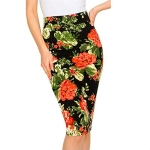 Temperament Women Printed Pencil Skirt, Size: M(Orange )