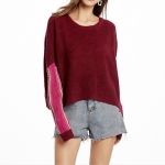Loose Hooded Sweater Hit Color Bat Sleeve Bottoming Shirt, Size: M(Red)