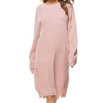 Long Sleeve Loose Long Knit Dress, Size:  One Size(Pink )
