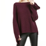 Women One-neck Solid Color Trumpet Sleeve Sweater, Size: M(Wine Red)