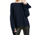 Women One-neck Solid Color Trumpet Sleeve Sweater, Size: L(Navy Blue)