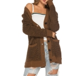 Autumn and Winter Women V-neck Loose Knit Cardigan, Size: S( Camel )
