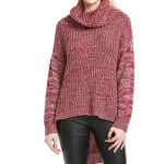 High Collar Front Short Back Long Sweater, Size: XL( Red and White)