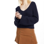 Trumpet Sleeves Head Sexy V-neck Short Sweater, Size: L(Navy Blue)