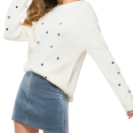 Women Stars Pattern Embroidery Pullover Sweater, Size: S(White )