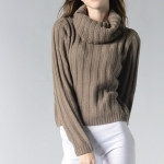 High Collar Round Neck Long Sleeve Sweater, Size: S(Gray)