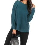 Women Casual Pullover Loose Sweater, Size: L(Green Blue)