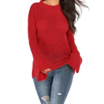 Women Round Neck Hollow Trumpet Sleeve Sweater, Size: S(Red)