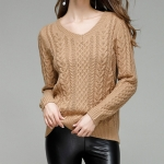 Autumn and Winter V-neck Solid Color Long-sleeved Pullover Sweater, Size: L(Camel )