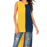 Women Fashion Short Front Behind Long Pullover Sleeveless Sweater, Size: XL(Yellow Blue)