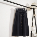 Knee Length Elegant Button High Waist Skirt Female Pleated Skirt, Size:One Size(Black)