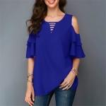 Round Neck Strapless Trumpet Sleeves Loose Chiffon Shirt, Size:XL(Dark Blue)