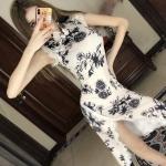 Elegant Cheongsam Sleeveless Dress Floral Print Party Satin Dress, Size:S(As Show)
